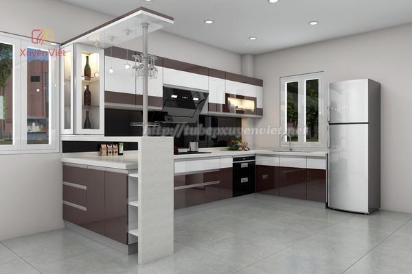 Mẫu tủ bếp có quầy bar và tủ rượu dạng chữ u nhà chị Trang - Hải Phòng