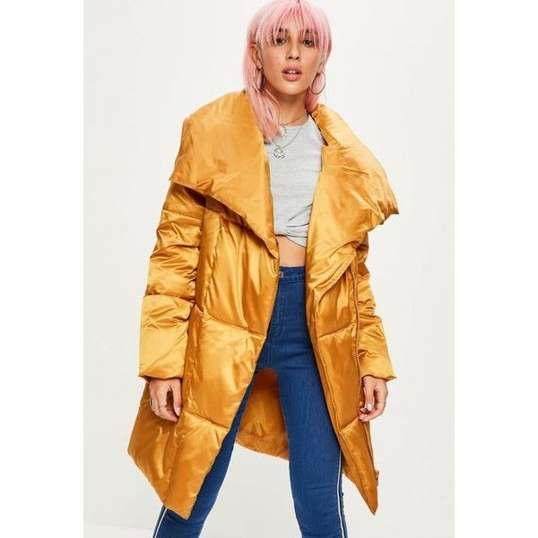 Missguided Waterfall Puffer Jacket ($43) ❤ liked on Polyvore featuring outerwear, jackets, mustard, mustard puffer jacket, zip front jacket, puffy jacket, yellow padded jacket and mustard jacket