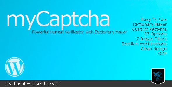 myCaptcha - Powerful Human Verificator   Created: 8May12 LastUpdate: 8May12 SoftwareVersion: WordPress3.3 #WordPress3.2 #WordPress3.1 #WordPress3.0 #jQuery FilesIncluded: JavaScriptJS #CSS #PHP Tags: bot #botnet #bots #captcha #comments #form #forms #login #protect #recaptcha #register #spam #spammers #codecanyon
