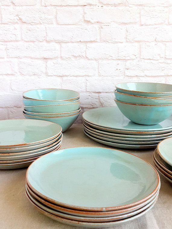 Turquoise Pottery Dinnerware Set For 6 Ceramic Dinnerware Set