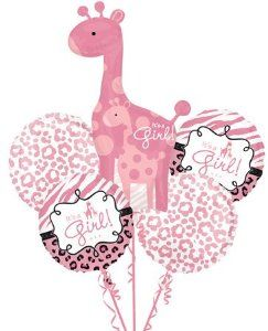 "Sweet Safari BABY GIRL 5 Balloon Bouquet Kit w/Ribbons - Baby Shower by Anagram. $8.00. Ship uninflated in packaged kit which included 5 Ribbons too - 70"" long each! DON'T FORGET TO BUY MORE THAN ONE FOR THE CUTEST DRIVEWAY MARKERS & CENTERPIECES EVER!!. 2 - Pink on White Animal Print  18""  Foil Balloons.. Complete 5 Piece Sweet Safari Blue IT'S A GIRL Balloon Bouquet Kit.  Includes the following:. 1 - JUMBO It's A Girl Giraffe SuperShape Foil 42 inch tall x 25 inch ..."