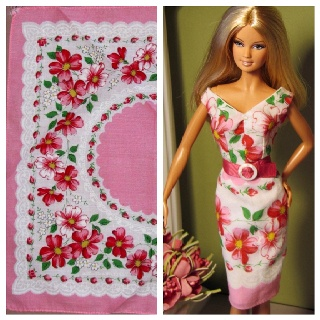 Barbie doll dress made from vintage hankie