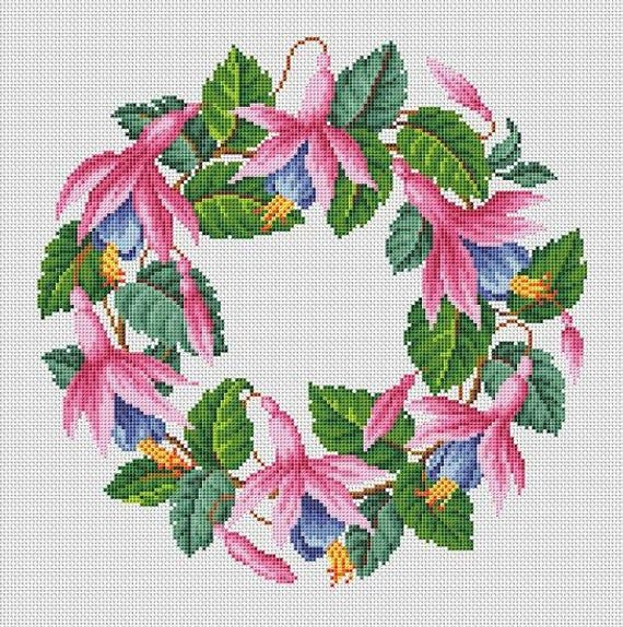 Antique Fuchsia Flowers Wreath In 2 Colors Pink And Orange Etsy Cross Stitch Flowers Cross Stitch Cross Stitch Patterns