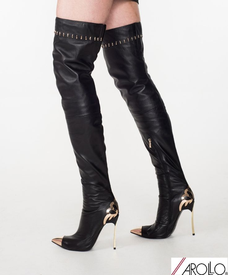 AROLLO real leather High Heel Stiletto Thigh High Croch Boots