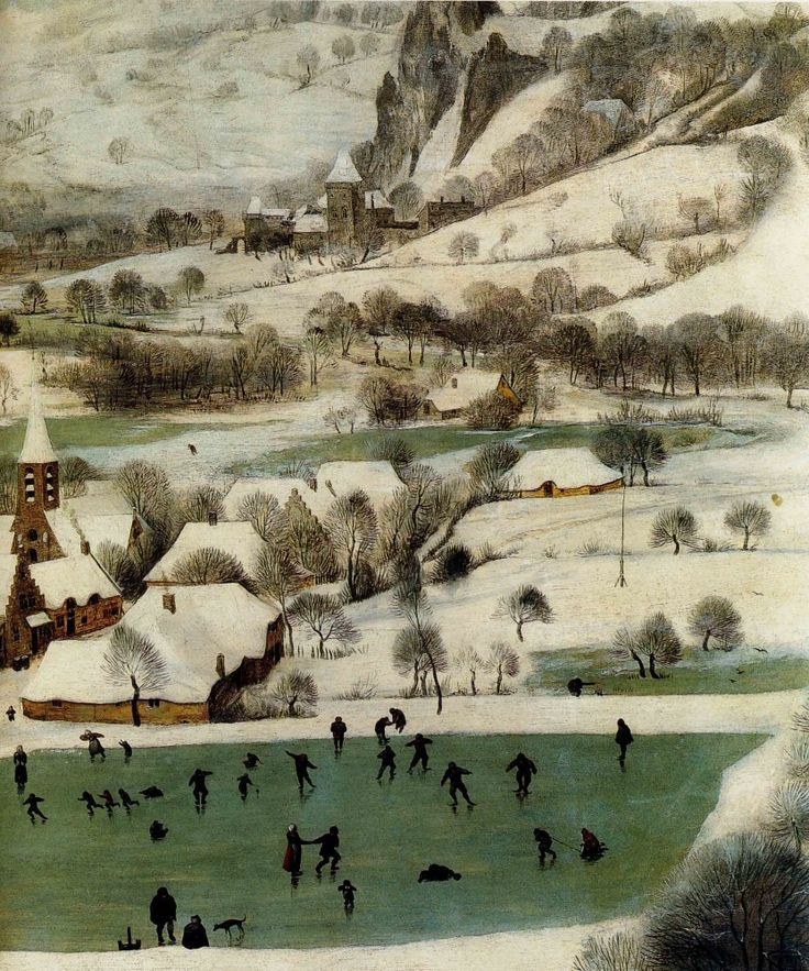 1565 painting by Pieter Bruegel the Elder –Hunters in the Snow, Winter, Detail, skaters.