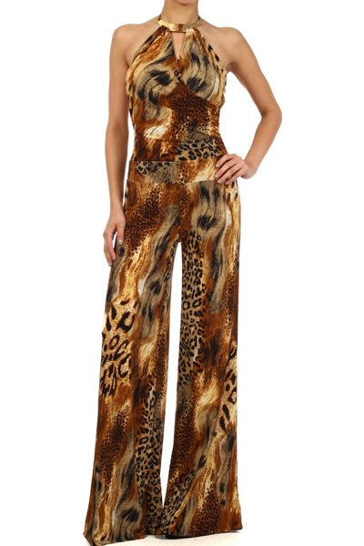 Multi Animal Print Halter Neck Jumpsuit With A Wrapped Bodice