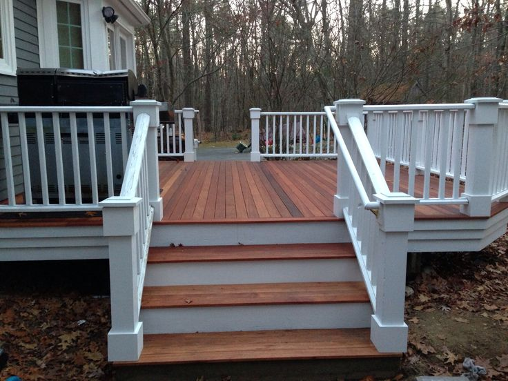 Mahogany decking composite railings outside spaces for Balcony colour combination