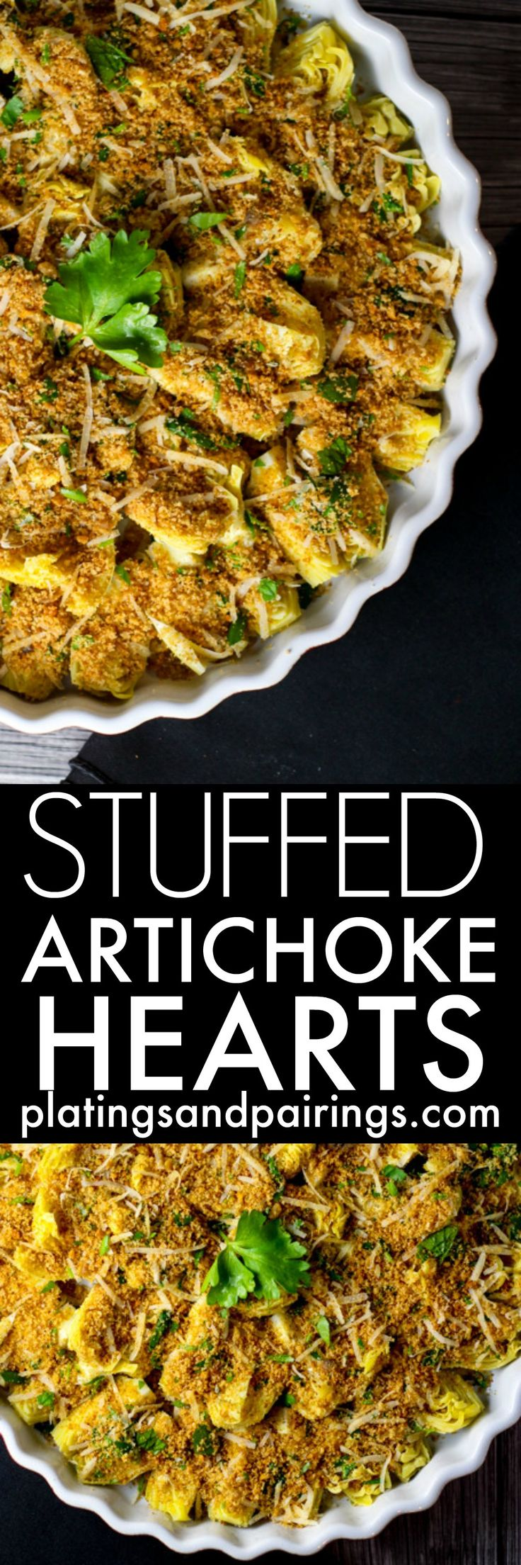 """These Stuffed Artichoke Hearts take all the work out of actually stuffing an artichoke. Canned artichoke hearts are arranged in a dish and topped with a """"stuffing"""" of breadcrumbs, parmesan cheese, and garlic.   platingsandpairings.com"""