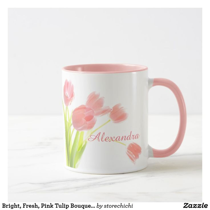 Bright, Fresh, Pink Tulip Bouquet on white name Mug