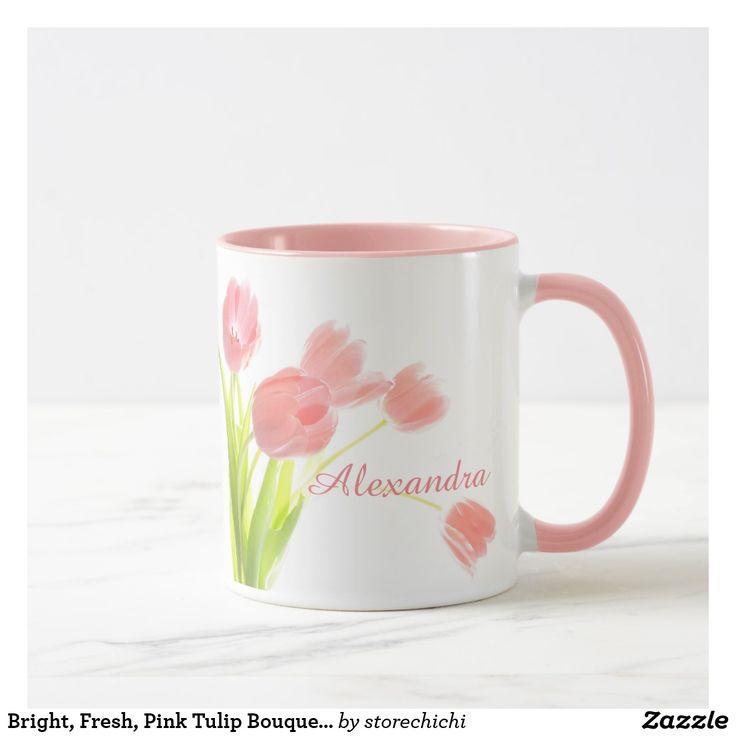 Bright, Fresh, Pink Tulip Bouquet on white name Mug