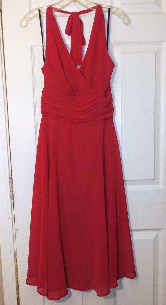 2383e995009 Connected Apparel Red Halter Dress Women s Size 8 Knee Length New With Tags   fashion  clothing  shoes  accessories  womensclothing  dresses (ebay link)