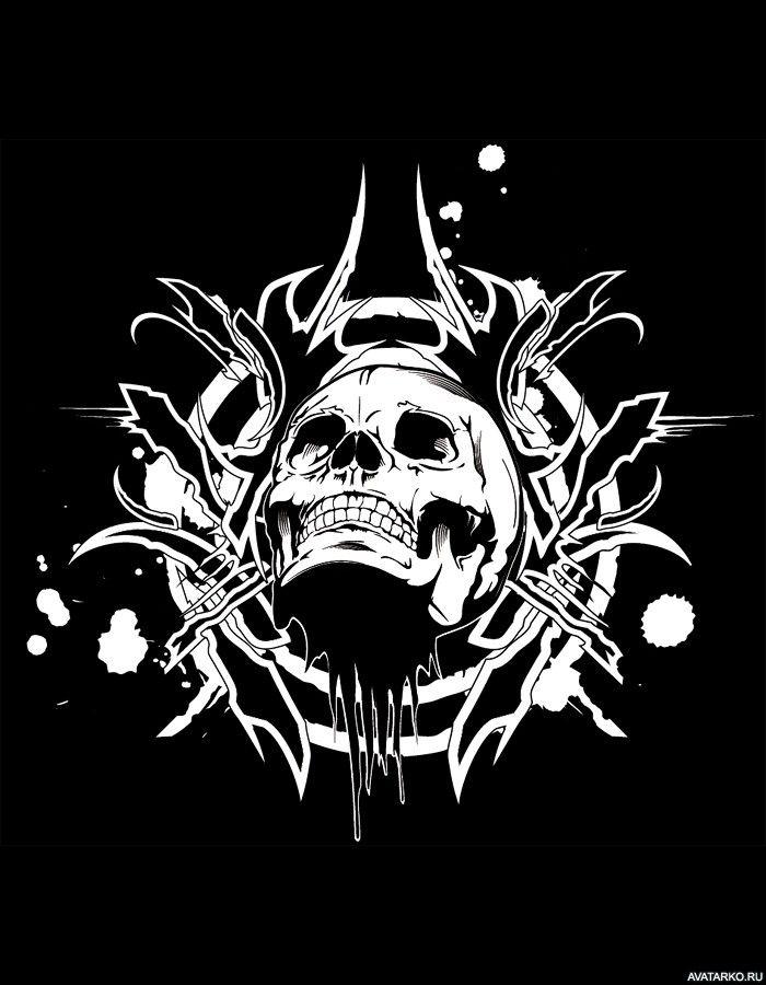 Чёрно-белый рисунок черепа с направленным вверх взглядом - аватары, картинки…