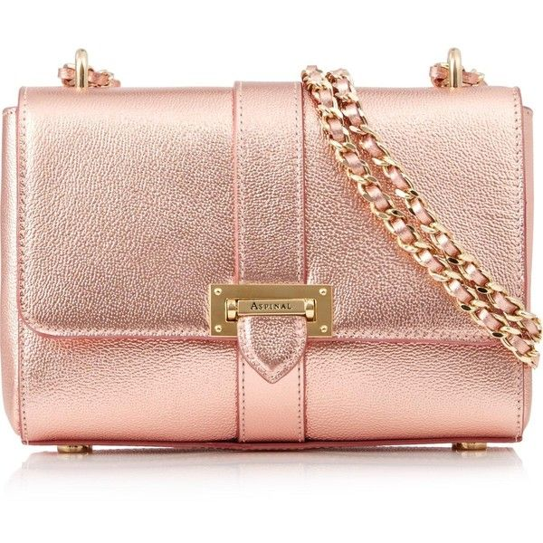 Aspinal Of London Lottie Bag (£450) ❤ liked on Polyvore featuring bags, handbags, shoulder bags, rose gold, purse shoulder bag, handbag purse, shoulder handbags, pink handbags and shoulder strap handbags