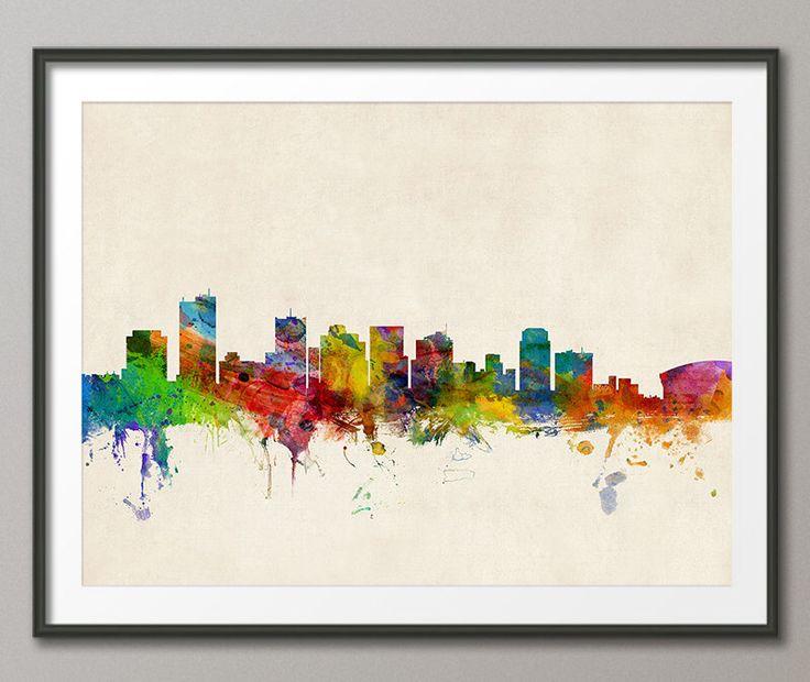 Phoenix Skyline, Phoenix Arizona Cityscape Art Print (157) by artPause on Etsy https://www.etsy.com/listing/173650556/phoenix-skyline-phoenix-arizona