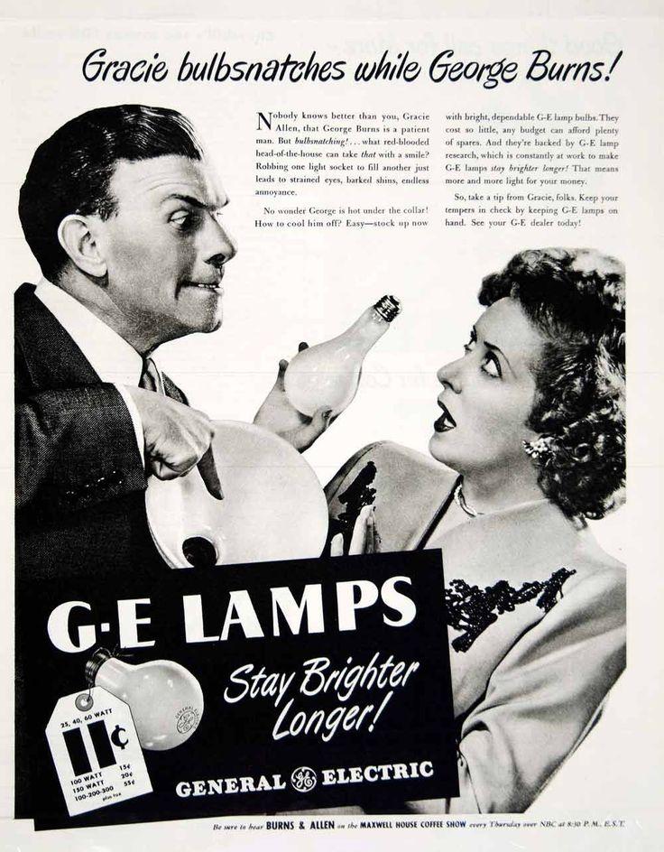 1946 Ad General Electric GE Lamp Light Bulb George Burns Gracie Allen Film YLK1
