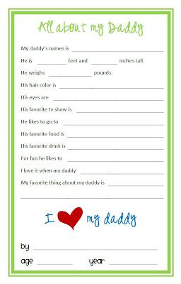 Father's Day Questionnaire - I wasn't satisfied with any of the questionnaires I found, so I created my own little survey.  Enjoy! -Kristina
