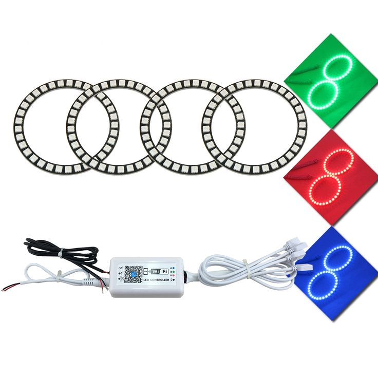 78.80$  Watch here - http://alimla.shopchina.info/1/go.php?t=32817420624 - 4 Pcs 90mm Wifi Control RGB Angel Eyes Halo Car LED Light Ring DC 12V 5050 33SMD chips Led Headlight Conversion Kit DRL   #buychinaproducts
