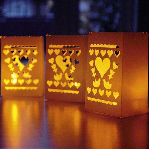 6 små lanterner til bordet inkl. led lys