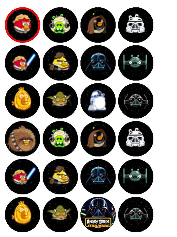 Image Detail for - 24 x Angry Birds Star Wars Wafer Paper Cup Cake Tops