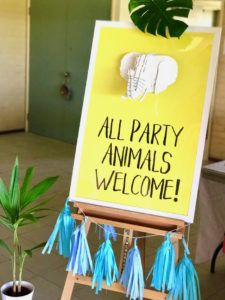 Safari party signage from a Girly Wild Safari Birthday Party on Kara's Party Ideas | KarasPartyIdeas.com (25)