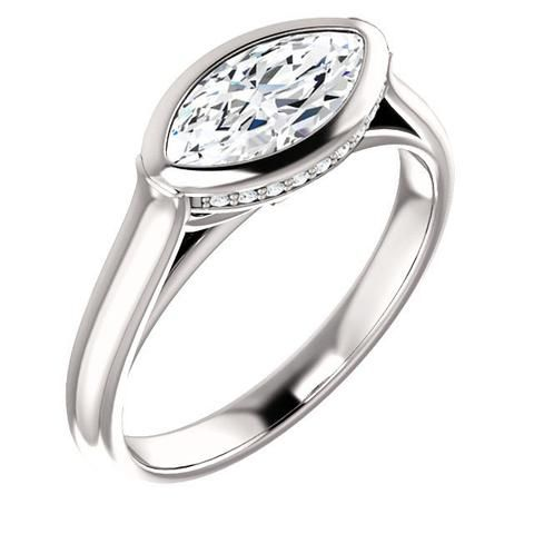 1.0 Ct Marquise Ring 14k White Gold