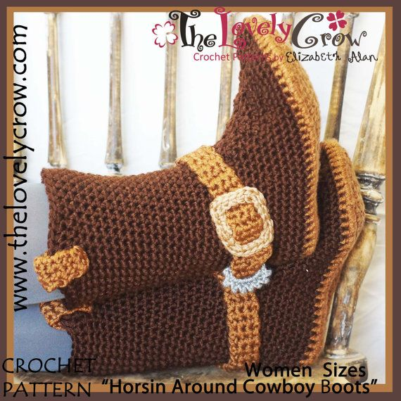 Crochet Pattern Adult Sizes Cowboy Boots