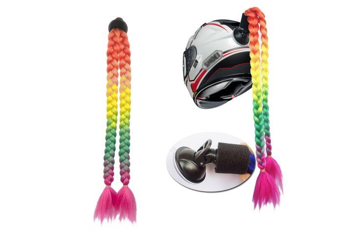 """Helm Pigtails Pferdeschwanz Zöpfe Haar für Motorrad 2 zusammen 24 """"Regenbogen Farbe   – eBay helmet pigtails/mohawk/ponytails /New"""