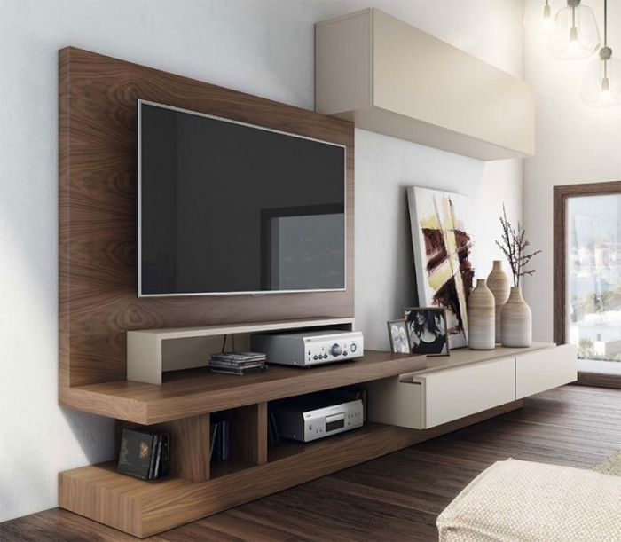 contemporary wall storage system with cabinet- tv unit & wall