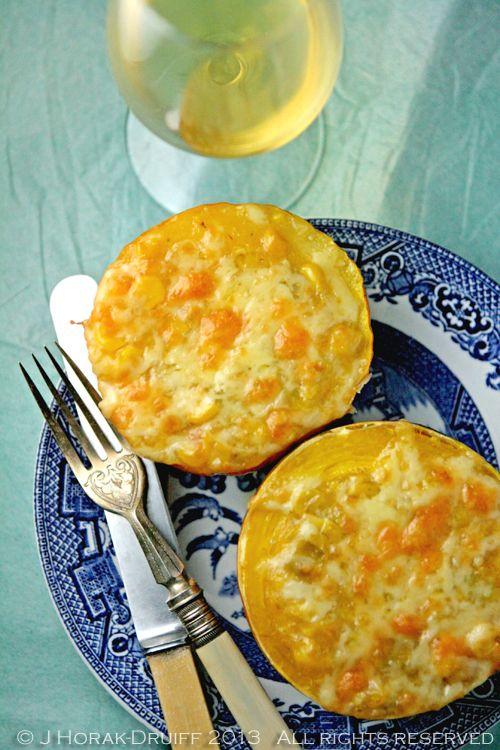 Gem squash with a cheesy spicy creamed sweetcorn filling - Cooksister | Food, Travel, Photography