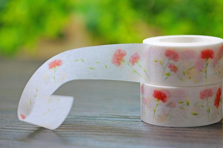 2017 New 1x Red Flower Floral Patterned Japanese Washi Tape Pegtinas Scrapbooking Cinta Adhesiva DIY Decorative Masking Tape 10M