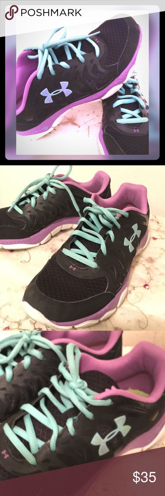 SALE!! Under Armour black/teal/purple tennis shoes In excellent condition! Great colors! Great quality! Regular gentle wear, no damage. Under Armour Shoes Sneakers