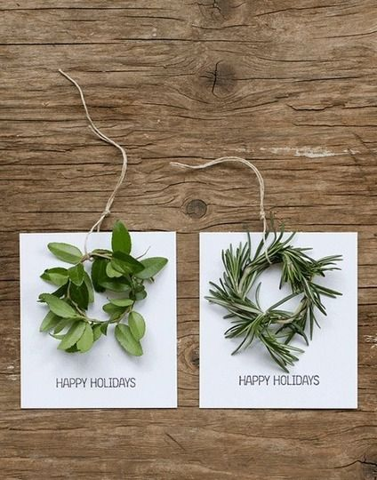 mini wreath holiday tags/cards