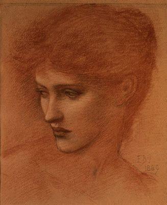 Pre Raphaelite Art:  Edward Burne-Jones - Study for a head