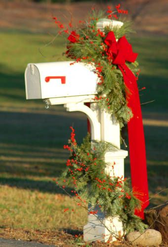 Mailbox decor...so elegant. just be sure to use berries that can withstand the weather conditions. Many Fake ones get ruined by water.
