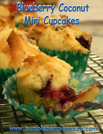 Healthy Blue & White Chanukah Dessert Recipe: Blueberry Coconut Miini Cupcakes! Eat in Joy from bumbleberrybreeze.com