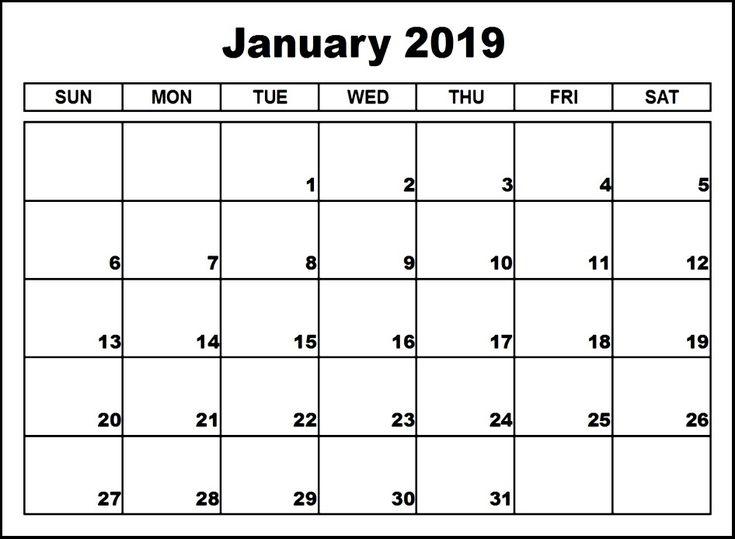 January Calendar 2019 Template Custom January 2019 Calendar