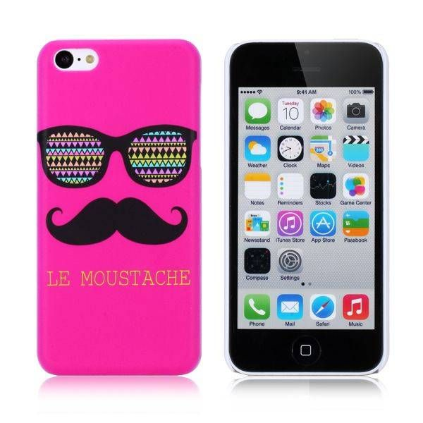 Roze moustache met zonnebril hoesje voor iPhone 5C
