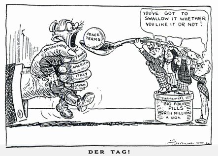Political cartoon of the Treaty of Versailles stating that peace terms were shoved down Germany's throat and they couldn't do anything about it