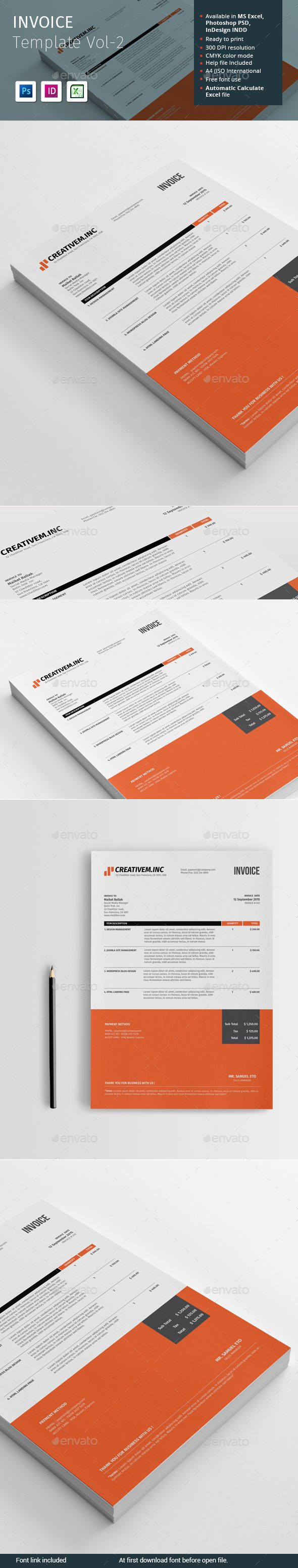 The 377 best Form Design images on Pinterest   Invoice design     Invoice Template Vol 2