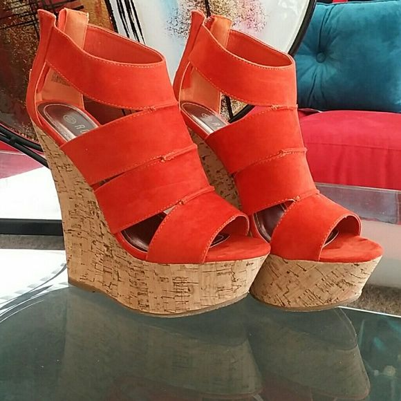 Orange Wedge Sandals Orange Wedges Shoes Sandals
