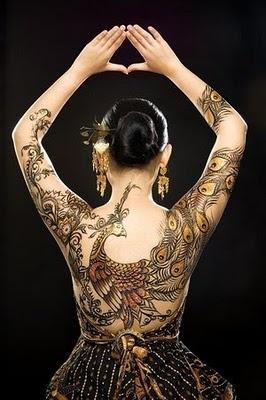 Javanese Batik Peacock Tattoo full back view
