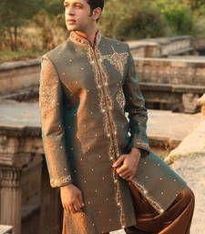 Buy rust green art brocade embroidered sherwani sherwani online