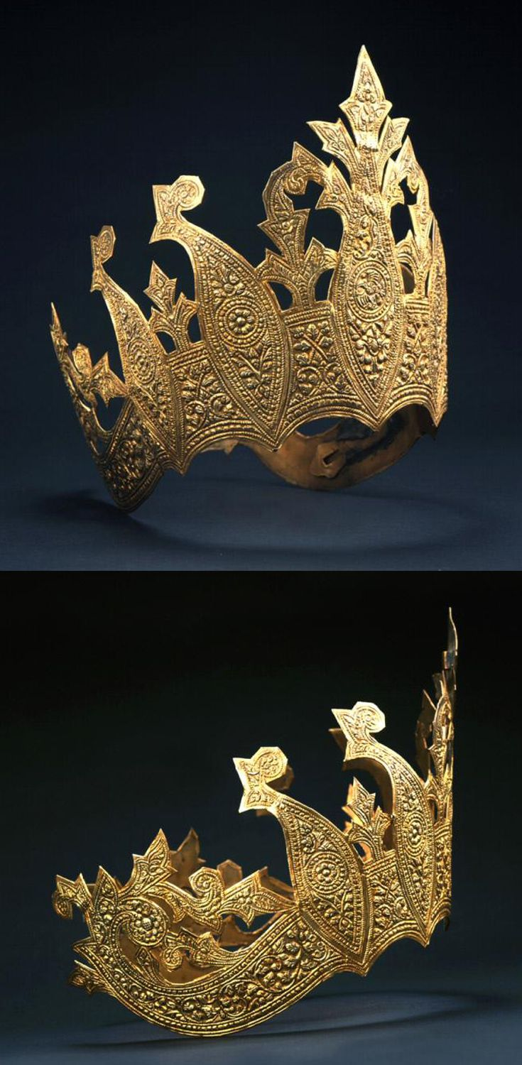 Indonesia ~ Palembang, Sumatra | Crown; gilded copper. ca. late 19th to early 20th century || Such a crown was probably worn by a noblewoman or dancer at the court of Palembang in southeastern Sumatra.