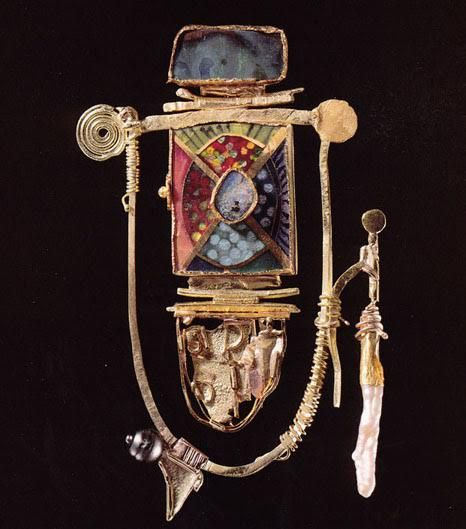 william harper   THE ANCIENT BARBARIAN   1998    gold cloisonné' enamel on fine gold and fine silver; 14, 18, 22, and 24 kt gold; opals; pearls