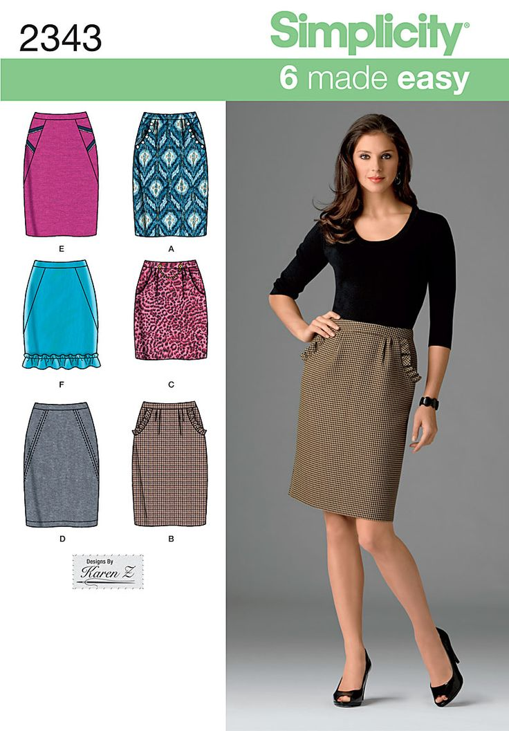 2343 Misses' Skirts  Misses' pencil skirt sewing pattern. 6 made easy skirts with two lengths and trim variations.