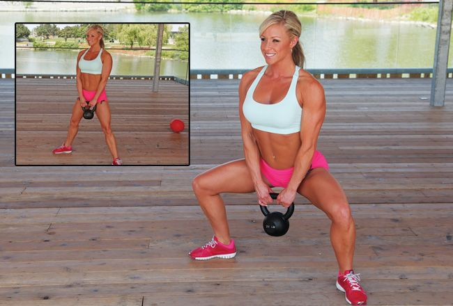 Sumo squat with kettlebell. Try to get the weight all the way to the ground without actually touching it. We show you how...