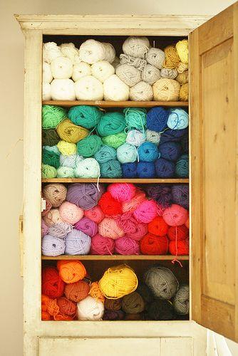 Yarn stash? Guilty!: Cabinets, Storage Area, Yarns Stash, Dreams Closet, Crafts Rooms, Rainbows, Happy Colors, Yarns Storage, Heavens