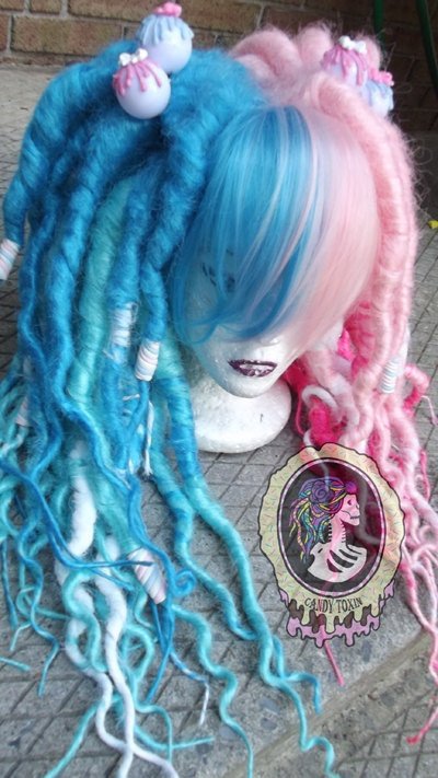 Pink and Blue Split Dread Wig. $100.00, via Etsy.