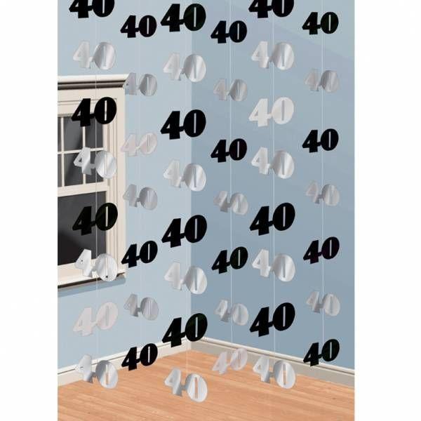 Zwart Zilveren 40ste Verjaardag String Decoratie Deurgordijn