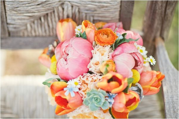 Parrot tulips. succulents. ranunculus. A Stylish Soiree.: Pink Wedding, Colors Combos, Flowers Bouquets, Wedding Bouquets, Bride Bouquets, Blue Orange, Bold Colors, Bright Colors, Orange Pink